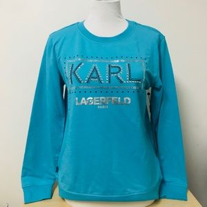 Karl Lagerfeld Sequin Bedazzle Blue Sweatshirt